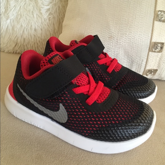finest selection bb7df 8ddfe New Nike Free Rn Toddler Sneakers Black Red White